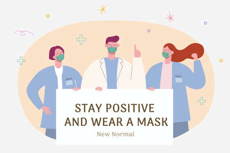 Wearing face masks becoming the new normal, concept of post corona era, illustration in flat design