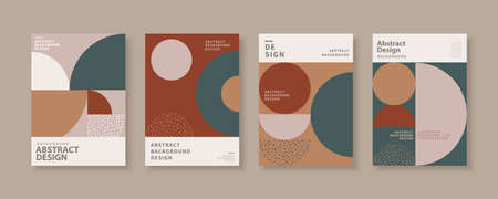 Abstract brochure templates with retro geometric design, for flyer, book, magazine cover use Çizim