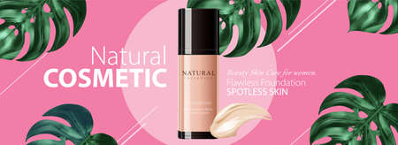 Ad banner for natural beauty products, skincare mock-ups decorated with monstera leaves on carmine rose pink background, 3d illustration