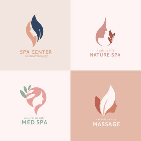 Set of minimal logo in woman face design, perfect for hair salon, skincare product, and spa center branding