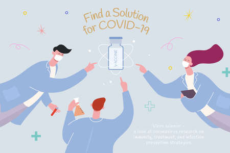 Concept of developing coronavirus vaccine, with research team trying to reach the vaccine bottle, illustration in flat design