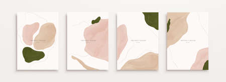 Cover template in minimal watercolor design, mixed with elegant painting shapes and thin line art Çizim