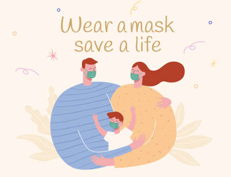 Cute family wearing face masks in flat design, concept of safe life, new normal and post COVID era Çizim