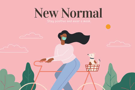 Wearing face masks becoming the new normal, concept of healthy life and post covid era, illustration in flat design Çizim