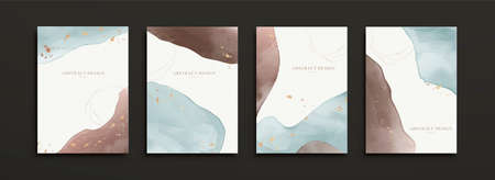 Cover template in luxury watercolor design, mixed with elegant painting shapes and gold foil patterns
