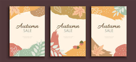 Minimal autumn foliage cover with brush strokes in earth color, applicable to event or sale promotion Çizim