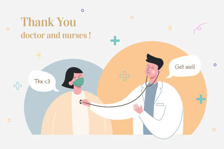 Thank you doctor and nurses for fighting coronavirus, illustration in flat design Çizim