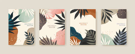 Collection of Nordic cover template with abstract leaves and colorful fluid shapes, applicable to brochure, flyer and poster Çizim