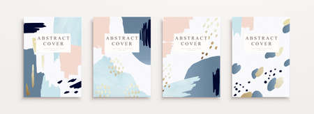 Cover template in minimal Memphis design, mixed with fluid shapes and elegant line art in pastel color Çizim
