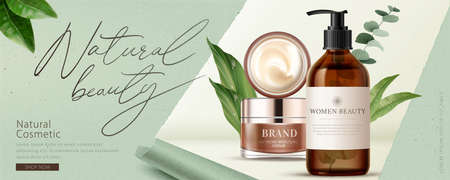 Ad banner for natural beauty products, decorated with ripped paper effect and natural leaves, concept of simple skincare, 3d illustration