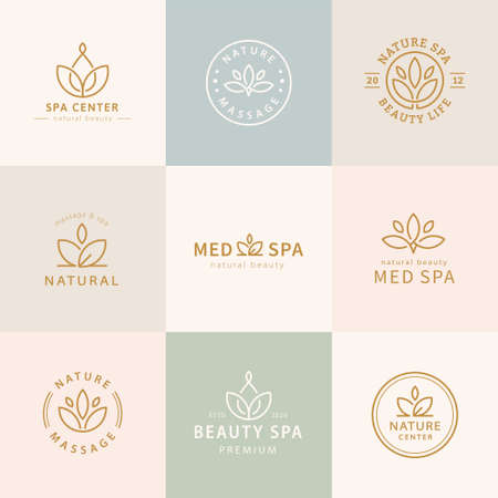 Set of lotus logo design, concept of zen and peace, applicable to spa, yoga, mental consultation, mindfulness and aroma therapy Çizim