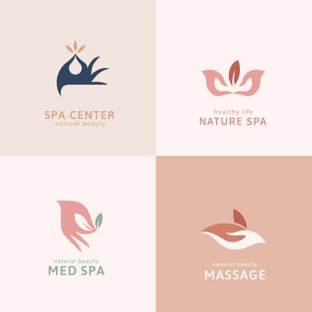 Set of hand logo in flat design, perfect for spa center, aroma therapy and herbal product branding Logo