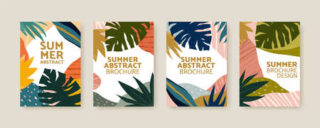 Collection of Nordic style cover template with leaves and abstract Memphis patterns