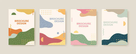 Collection of Nordic style cover template, designed with landscapes and abstract patterns in earth tone