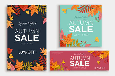 Autumn foliage background in different standard sizes, applicable to event or sale promotion