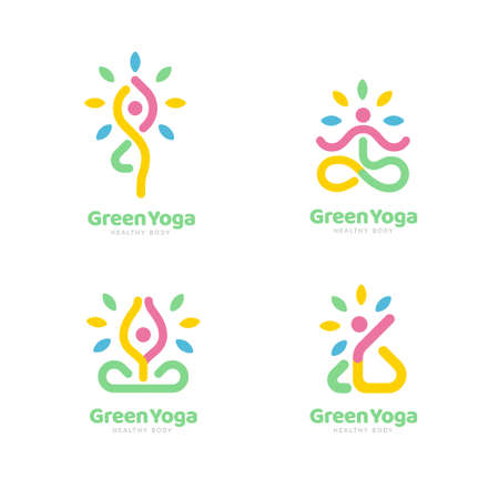 Set of yoga logo in colorful line art design, applicable to yoga, sport, and fitness Çizim
