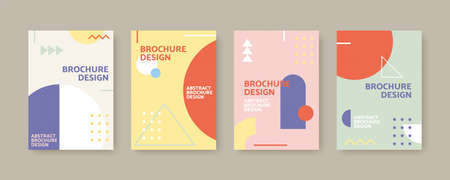 Collection of cover template in Bauhaus style, designed with classic geometric patterns in Nordic color
