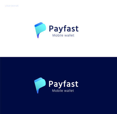 Pay fast logo with abstract wallet design, concept of crypto wallet, fast online payment, and accounting app