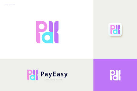 Pay easy logo with colorful logotype design, concept of credit card, crypto wallet and fast online payment Çizim