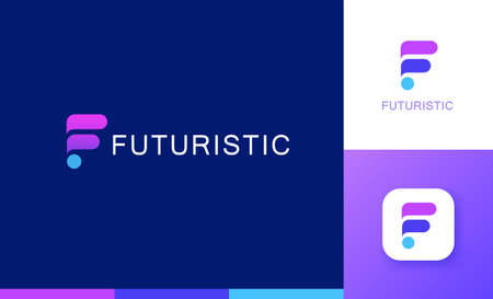Letter F logo set with geometric gradient design, concept of 5G, future and forward