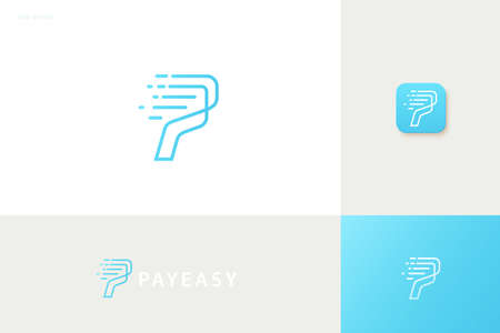 Pay easy logo with blue speed line design, concept of crypto wallet and fast online payment