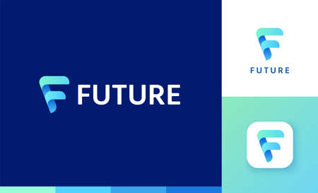 Letter F logo set with gradient arrow design, concept of future and forward Çizim