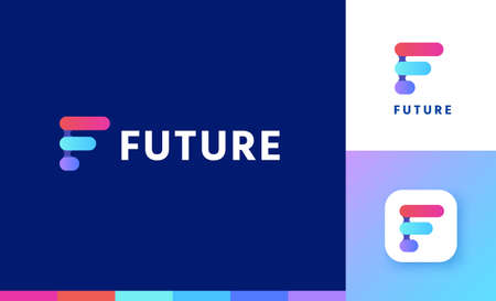 Letter F logo set with gradient geometric design, concept of future and forward
