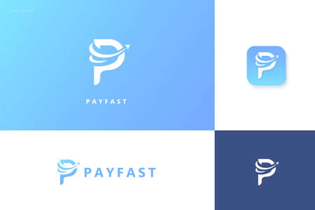 Fast pay logo set with arrow design, concept of easy online payment and crypto wallet Çizim