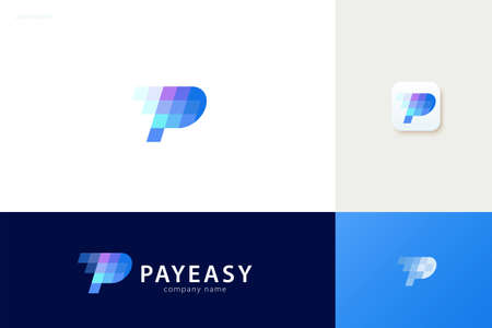 Pay easy logo with blue tone square design, concept of crypto wallet and fast online payment Çizim