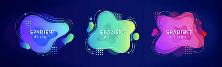 Colorful fluid gradient elements with halftone and frame, isolated on dark blue background, applicable to label and futuristic decoration