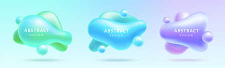 3D fluid elements isolated on light gradient background, concept of bubble, applicable to label and futuristic decoration