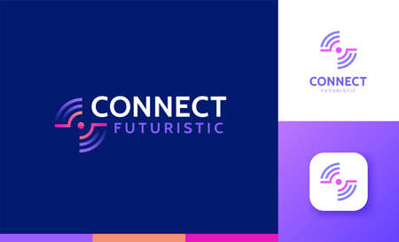 Letter F logo set with concentric gradient design, concept of 5G, future and forward