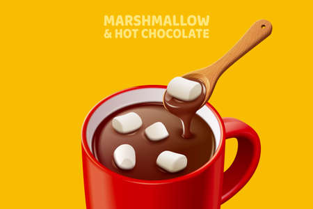 Hot chocolate with marshmallows in 3d illustration, isolated on mustard yellow background