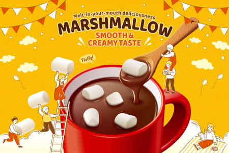 Marshmallow hot chocolate ad in 3d illustration, with cute hand drawn miniature people playing around the mug