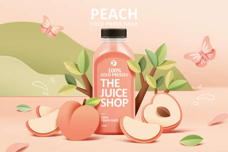 Cold-pressed peach juice ad template in colorful paper cut design, concept of natural garden or farm, 3d illustration Çizim