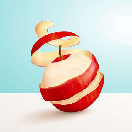 Red peeled apple in 3d illustration, concept of freshness and vitamin