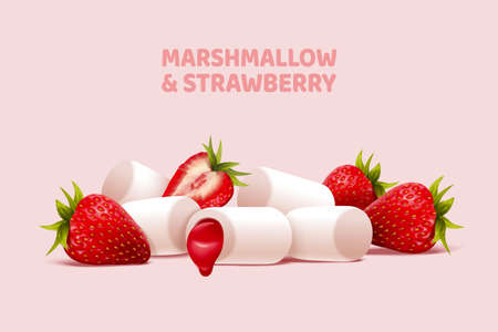 Strawberry and jam marshmallow in 3d illustration, isolated on pastel pink background Çizim