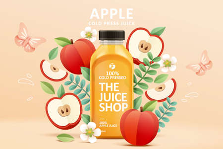 Cold-pressed apple juice ad template in colorful paper cut design, concept of natural garden or farm, 3d illustration