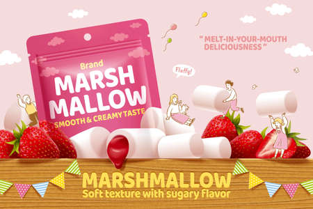 Strawberry marshmallow ad in 3d illustration, with cute hand drawn miniature people playing on the wooden table Çizim