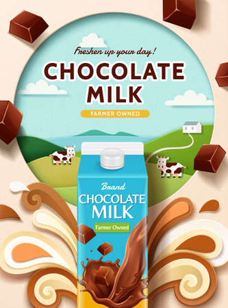Chocolate milk ad with paper cut farm and splashing milk, 3d illustration Çizim