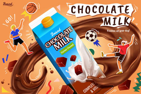 Chocolate milk pack with realistic brown splashing and flat athlete illustration, concept of sport fuel, 3d illustration