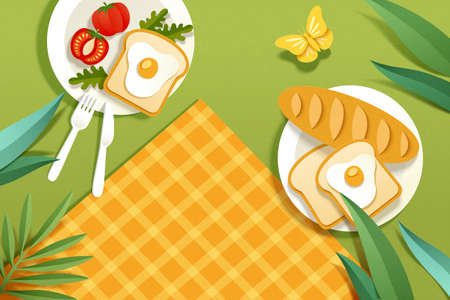 Top view of picnic blanket with food served on plates at the park in paper art, design elements for a ad banner Çizim
