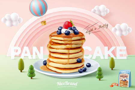Fluffy pancake ad template, stack of pancakes with maple syrup and fresh fruit on miniature pastel forest background, 3d illustration