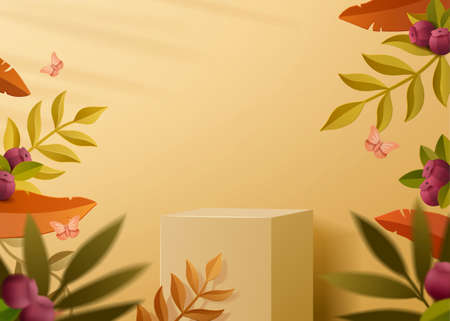 Mustard yellow color podium to display product with blueberry leaves elements in paper art style