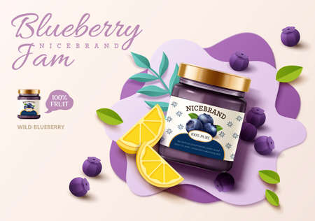 3d illustration of blueberry jam ad banner with blueberries, lemon and leaves on paper art background