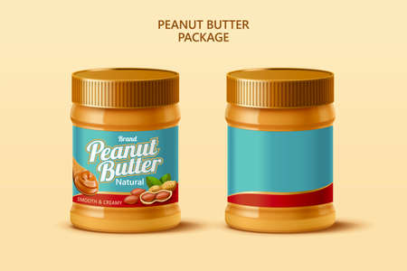 Peanut butter spread mockup template with blank label in 3d illustration over beige background