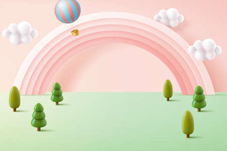 Miniature forest background in pastel tone, decorated with cute pink rainbow and hot air balloon, 3d illustration Çizim