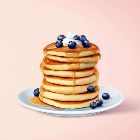 Tasty and fluffy pancake stack with maple syrup, butter and blue berries, 3d illustration Çizim