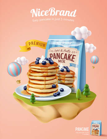 Fluffy pancake ad template, mock-up set on miniature pastel island with cloud and hot air balloon, 3d illustration