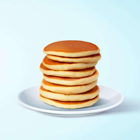 Tasty and fluffy pancake stack on white plate, isolated on blue background, 3d illustration